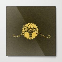 Vintage Floral Primrose Yellow Metal Print
