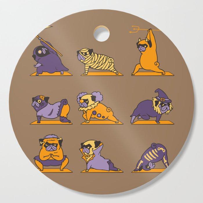 Pug Yoga Halloween Monsters Cutting Board