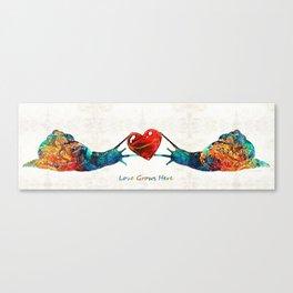 Snail Art - Love Grows Here - By Sharon Cummings Canvas Print