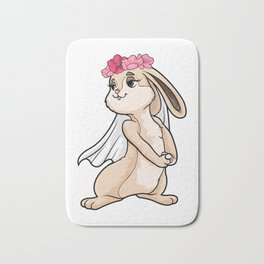 Beautiful bunny as a bride with a veil - bachelorette party Bath Mat