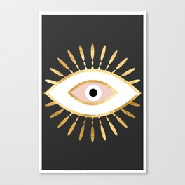 gold foil evil eye in blush Canvas Print