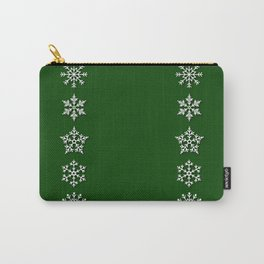 Five Diverse Snowflakes in a Row on a Green Background Carry-All Pouch