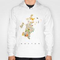 boston Hoodies featuring Boston map by Nicksman