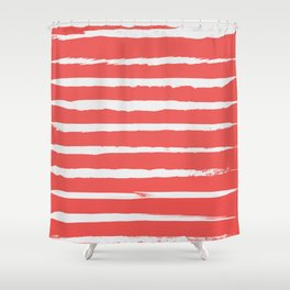 Irregular Hand Painted Stripes Coral Red Shower Curtain