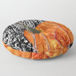 Pumpkin on black Floor Pillow