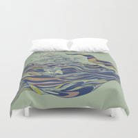 huebucket Duvet Covers featuring OCEAN AND LOVE by Huebucket