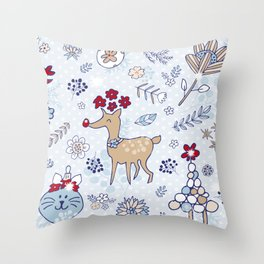 bright blue winter floral pattern Throw Pillow