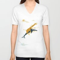 new girl V-neck T-shirts featuring Onward! by Jay Fleck