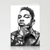 kendrick lamar Stationery Cards featuring Kendrick Lamar Lithograph by Drewnelz