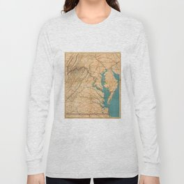 Vintage Map of Virginia and The Chesapeake Bay (1862) Long Sleeve T-shirt