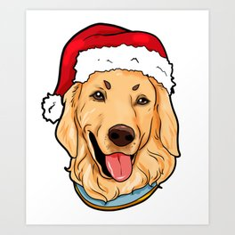 Golden Retriever Dog Christmas Hat Pre4sent Art Print