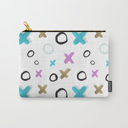 Geometrical abstract pink teal gold crosses circles pattern Carry-All Pouch