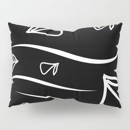 Geometric monochrome pattern from vegetable white elements on a black background. Pillow Sham