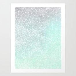 Organic Celestial Geometry on concrete and mint Art Print