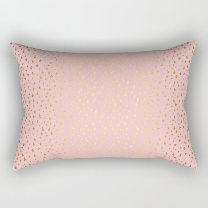 Gold and pink sparkling and shiny Stars pattern on #Society6 Rectangular Pillow