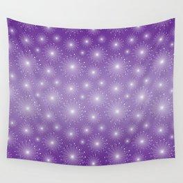 Purple Gradient with White Sparkle Starbursts Wall Tapestry