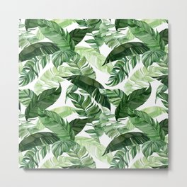 Green leaf watercolor pattern Metal Print