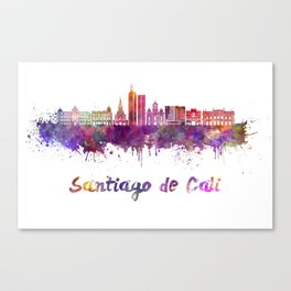 Santiago de Cali skyline in watercolor splatters with clipping path Canvas Print