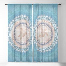 Rose Gold Turquoise Turtle Mandala Sheer Curtain