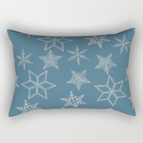 Silver Snowfakes On Teal Background Rectangular Pillow