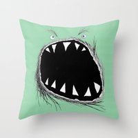 monster Throw Pillows featuring monster by Кaterina Кalinich