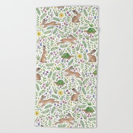 Spring Time Tortoises and Hares Beach Towel