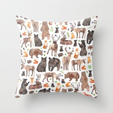 Woodland Animals Throw Pillow