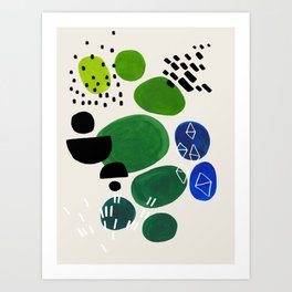 Fun Abstract Minimalist Mid Century Modern Colorful Shapes Lime Green Blue Watercolor Bubbles Art Print