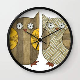 4 Gold Owls Wall Clock