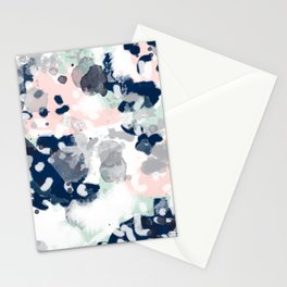 Melia - abstract minimal painting acrylic watercolor nursery mint navy pink Stationery Cards
