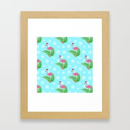Flamingo at winter Framed Art Print