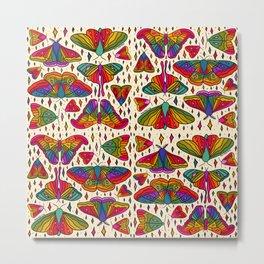 Rainbow Moth Print Metal Print