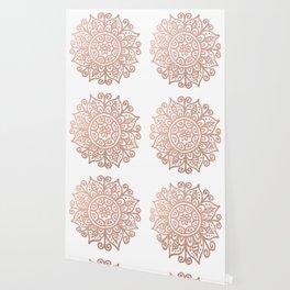 Rose Gold Floral Mandala Wallpaper