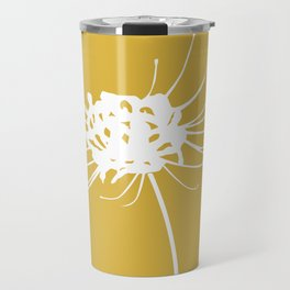 Faded Asteraceae Flower Minimalist Floral in Mustard Yellow and White Travel Mug