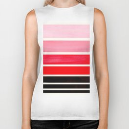 Red Minimalist Mid Century Modern Color Fields Ombre Watercolor Staggered Squares Biker Tank