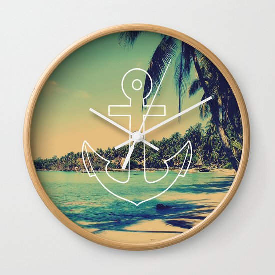Vintage Summer Anchor Wall Clock