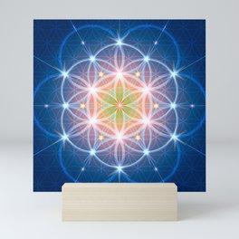 Blue Flower of Life Mini Art Print