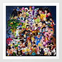 dragonball z Art Prints featuring DragonBall Z - Insane amount of Characters by Mr. Stonebanks