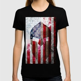 Molon Labe - Spartan Helmet Across An American Flag On Distressed Metal Sheet T-shirt