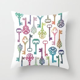 Rainbow Keys on White Throw Pillow