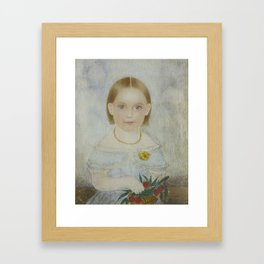 Attributed to Mrs. Moses Russell (Clarissa Peters)) MINIATURE PORTRAIT OF A GIRL WITH A BASKET OF CH Framed Art Print