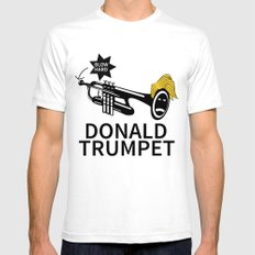 Donald Trump Trumpet SMALL White Mens Fitted Tee