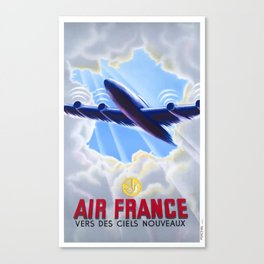 1946 Air France Towards New Skies Travel Poster Canvas Print
