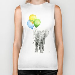 Elephant Watercolor Baby Animal with Balloons Blue Yellow Green Biker Tank