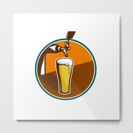 Beer Pint Glass Tap Retro Metal Print