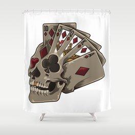 Poker Skull | Card Dealer Gambler Luck Jackpot Shower Curtain