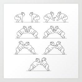 Rikishi Sumo Wrestlers Wrestling Mono Line Collection Set Art Print
