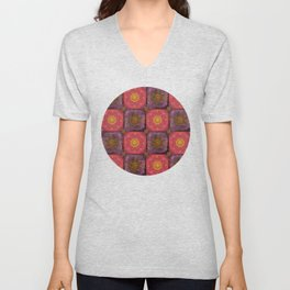 """Moroccan chess Strawberry & Purple Pattern"" Unisex V-Neck"