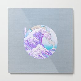The Great Wave Off Kanagawa Mount Fuji Eruption-Light Blue and Purple Metal Print