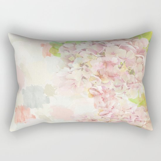 Pink Hydrangeas on a soft pastel abstract background Rectangular Pillow